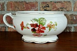 W.S. GEORGE Antique Victorian Porcelain Chamber Pot Nasturtium Flower Pattern