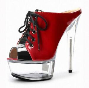 Women Super High Heels Platform Peep Toe Sandal Lace Up Stiletto Slingback Shoes
