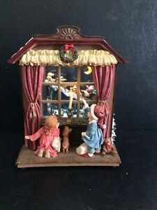 Waterglobe Musical Santa Reindeer Snowman Children Lights Windowpane w' Box