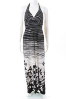 BCBG Max Azria Womens Halter Maxi Dress Black White Floral Size Extra Small