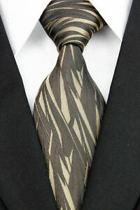 Wide Brown Woven 100% Pure Silk Neck Tie with a Modern Gold Colour Design