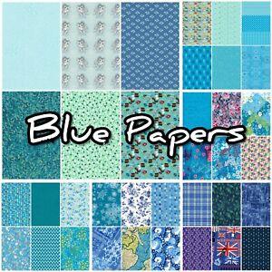 Decopatch Paper, Decoupage Paper Half Sheet, BLUE ***Inc Texture/Foil Papers***