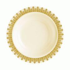 Ornament Collection Plastic Soup Bowls Cream Gold 7oz 10Ct