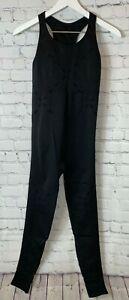 IVY PARK Women's Seamless CrissCross Ankle Bodysuit Black 1 Piece Jumpsuit L/XL