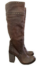 FILIPPO RAPHAEL Brown Leather Knee High Boots Heels 38 (7) #16813
