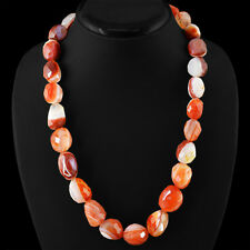 AMAZING 710.00 CTS NATURAL FACETED RICH ORANGE AGATE BEADS NECKLACE  - GEM EDH