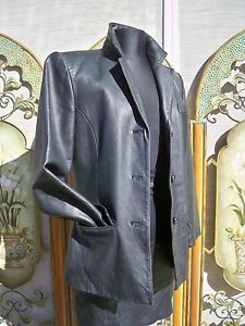 JACQUELINE FERRAR BLACK GENUINE LEATHER JACKET TRENCH COAT VINTAGE? 80S