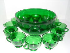 Forest Green Punch Bowl 12 Cups Set Glass Anchor Hocking Vintage
