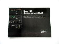 BRAUN Katalog Prospekt 1980 Hifi Technik Broschüre HI-FI Tuner Audio Faltposter