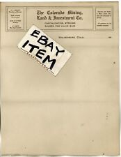 1910 LETTERHEAD Walsenberg COLORADO MINING LAND INVESTMENT Rocky Mountains