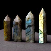 Natural Labradorite Moonstone Quartz Crystal Point Rock Stone Healing Wand Gift