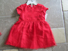 NEW CARTER'S RED HOLIDAY CHRISTMAS DRESS BABY GIRLS 9M, FREE SHIP
