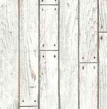 White Shabby Wood Panel Deco Self Adhesive Vinyl Wallpaper 21.5 sq feet