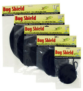"Hydrofarm Bug Shield w/ Active Carbon Inset 10"" - stop mold mildew inline fan"