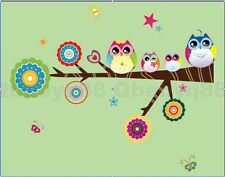 Owl Birds on Tree Branch Wall sticker Removable decals decor kids nursery mural