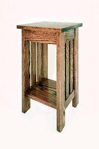 Stand, Plant, Lamp, Nightstand, End Table, Amish, Wood, Oak, Handmade, Medium