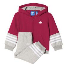 Adidas girls full zip fleece tracksuit age 9-12 months
