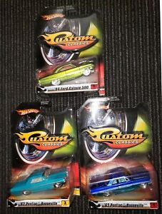 Hot Wheels Custom Classics '62 Pontiac Bonneville '64 Ford Galaxie 500- Lot of 3