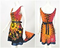 Womens Desigual Dress Fit & Flare Multicolor Cotton Belted Sweetheart Size M