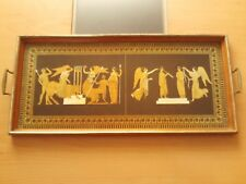 "VINTAGE GREEK DESIGN WOODEN TRAY WITH BRASS HANDLES ~ 24 1/4"" X 11"""