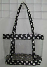 Clear Purse Handbag Black  See Through Security Jelly Plastic Dots POLKA DOTS