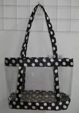 Clear Purse Handbag Black  See Through Security Jelly Plastic Dots POLKA DOTS