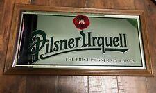 Vintage Pilsner Urquell Beer Mirror Bar Pub Man Cave Sign Wood Frame