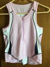 Exercise cycling jersey women Large Sleeveless Lightweight Half Zip Pink