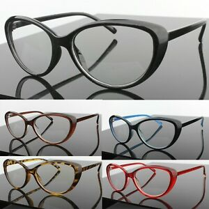 Oval Cat Eye Clear Lens Fashion Glasses Womens Mens Vintage Retro 80s 90s