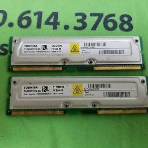 LOT OF 2 TOSHIBA 2 x 512MB (1GB) RDRAM RIMM Memory - THMR2N16-8E