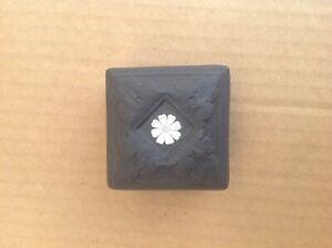 """Wedgwood Basalt Black Jasperware Small Square Trinket Box 2"""" Tall"""