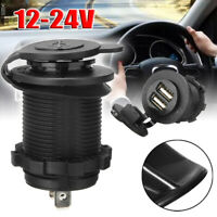 Black Car Cigarette Lighter Socket Dual USB Port Charger Power Adapter DC 12-24V