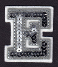 """LETTERS  - Silver Sequin  2"""" Letter """"E"""" - Iron On Embroidered Applique"""