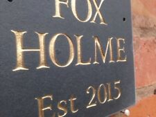 """Personalised Natural surface Slate House sign plaque 6"""" x 5""""  GOLD LETTERING"""