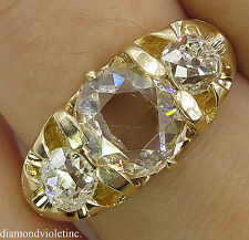 ANTIQUE VINTAGE ROSE CUT DIAMOND 3 STONE ENGAGEMENT WEDDING RING 18K YELLOW GOLD