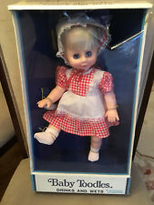 "Vintage Uneeda 14"" Baby Toodles Doll 1950s drinks & wets rare blond hair blue ey"