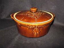 VINTAGE BROWN STONEWARE COVERED DISH WITH LEAF PATTERNS