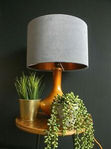 Lampshade, Grey Velvet with Brushed Copper Lining
