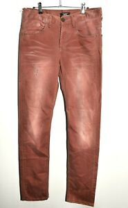 """KINGS DISTRESSED JEANS SALMON PINK W 31"""" L34"""" FADED TWILL TROUSERS"""