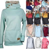 Women Cowl Neck Hoodie Hooded Sweatshirt Pullover Jumper Tops Winter Plus Size