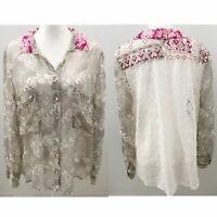 Women's Johnny Was 4 love & Liberty silk floral eyelet button down top