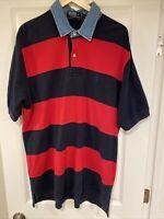 "VTG Ralph Lauren Men XL 48"" S/S Polo Rugby Shirt Denim Collar Blue Stripe Cotton"