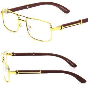 Men's Square Gold Frame Clear Lens Eye Glasses Full Rim Elegant Sophisticated