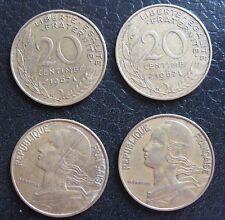 Repubblica Francese lotto 4 monete da 20 Centesimi   - n.1171