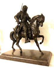 Große Bronzestatue-Arabischer  Reiter zu Pferd 38,5kg signiert auf Sockel