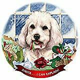 Cockapoo White Dog Porcelain Ornament Pet Gift 'Santa. I Can Explain!'
