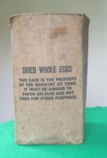 Rare Wartime Cardboard Box - Ministry of Food - Dried Eggs - Aid From USA
