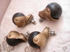 Vintage Brass Rubber Ball Caster Set of 4 lot ball bearing furniture