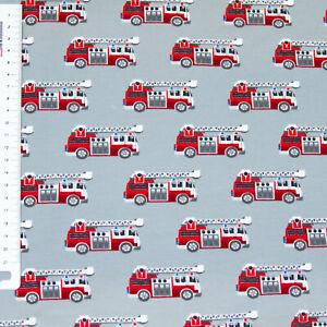 Jersey Feuerwehrautos auf Grau von Swafing 150 cm breit (3126)