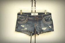 NWT HOLLISTER Size 0/1/2/3 Destroyed Studs Beads Hot Mini Denim Short Shorts